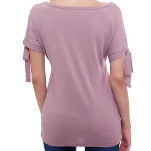 Luxe Label Tops - SOFT MAUVE SELF TIE SLEEVE BLOUSE
